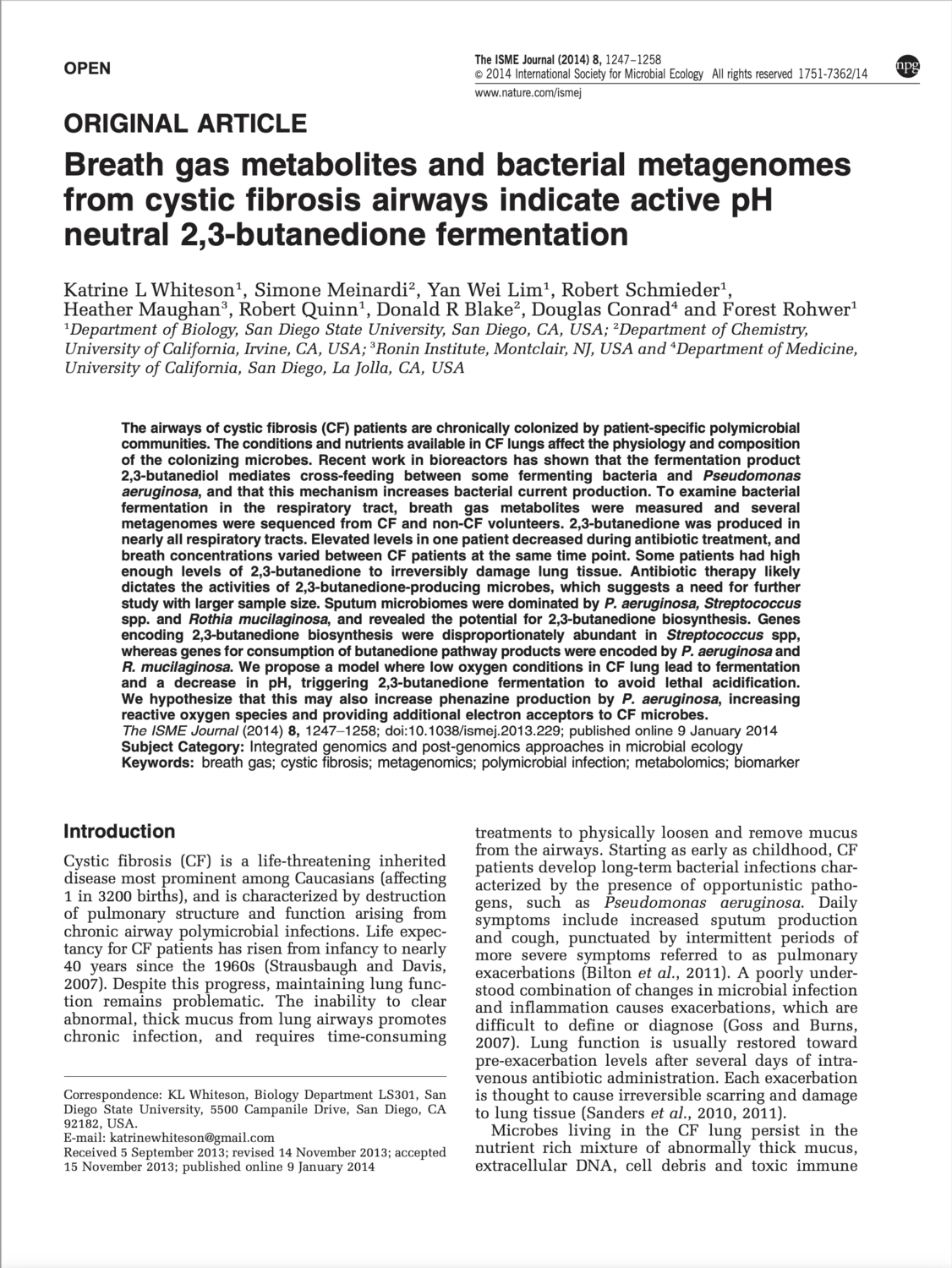 Breath gas metabolites and bacterial metagenomes from cystic fibrosis airways indicate active pH neutral 2,3-butanedione fermentation